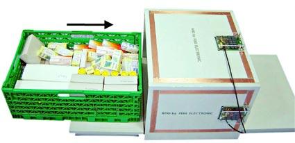 Test de lectura de 150 items con etiqueta rfid en túnel de lectura