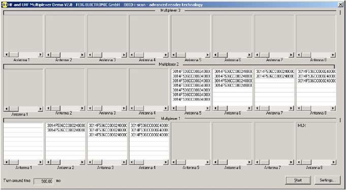 Resultado lecturas tags UHF del multiplexor con varias antenas