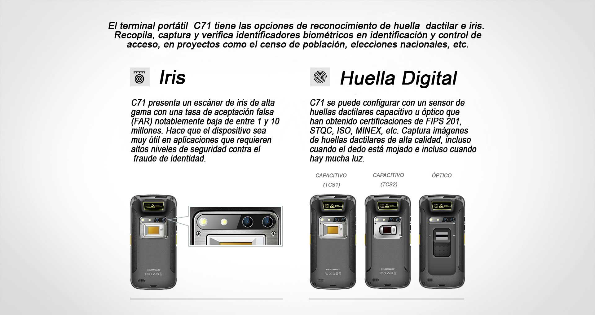 Terminal Portatil C71 CHAINWAY IRIS HUELLA DIGITAL