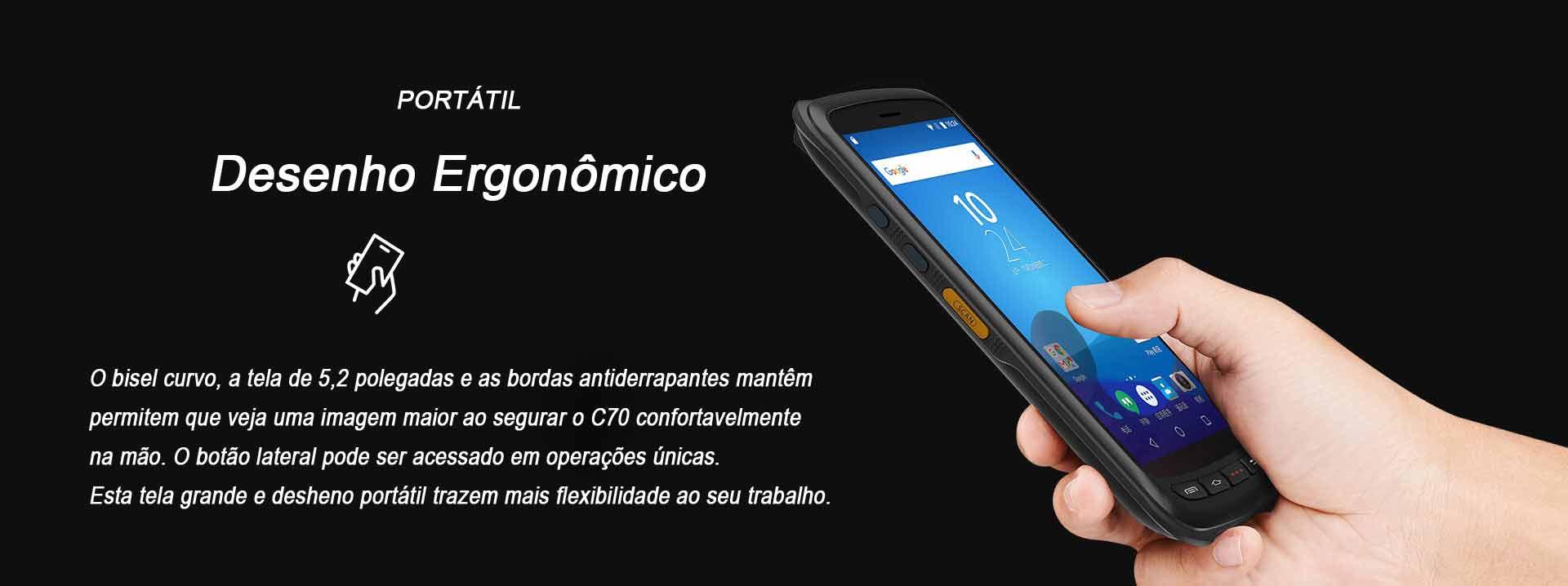 Terminal Móvel C70 Chainway Android Ergonomico