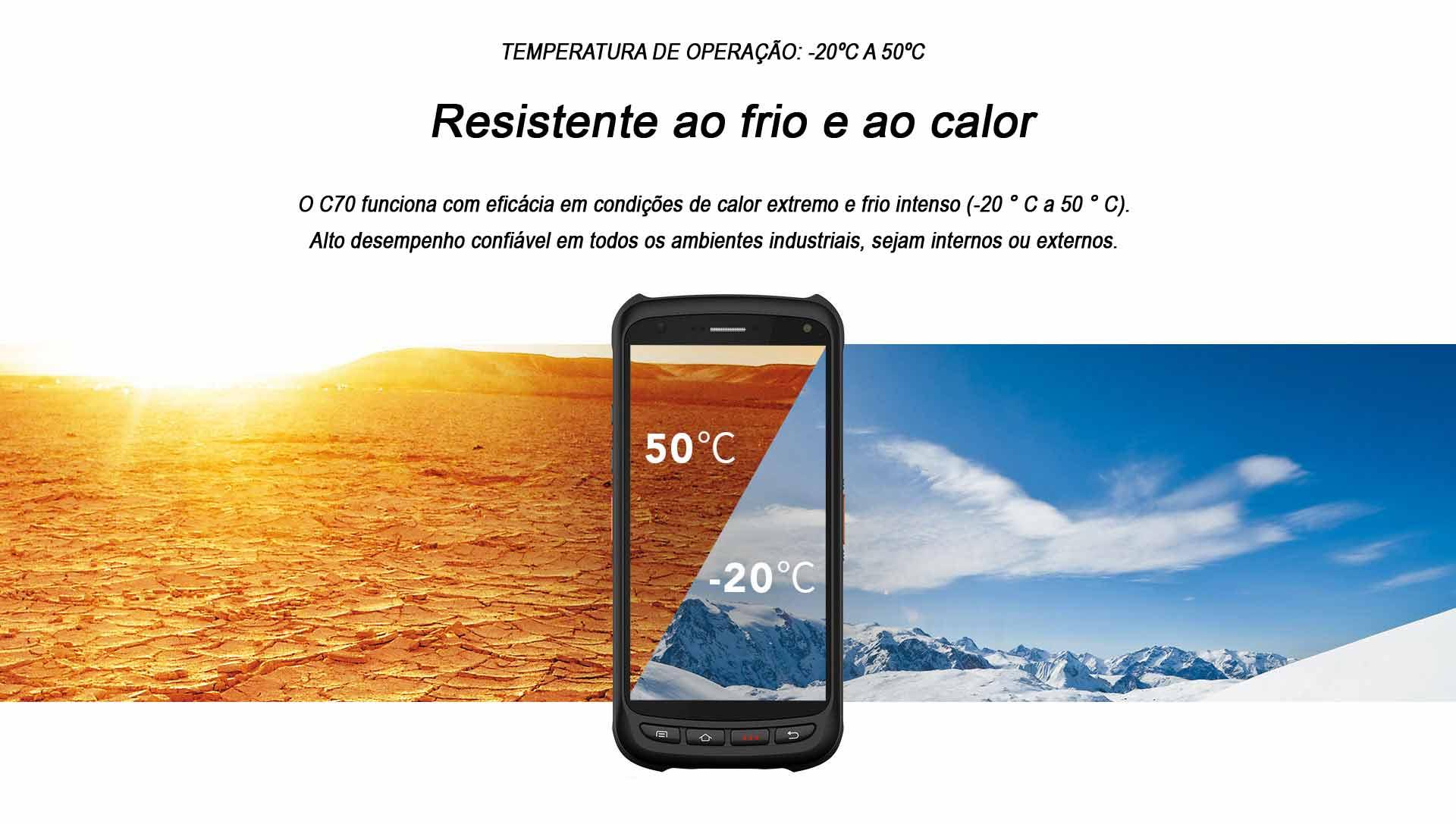 Terminal Móvel C70 Chainway Android Resistente frio calor